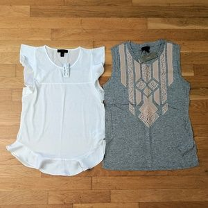 NWT J. Crew Tops White Ruffle Grey Pink Lace